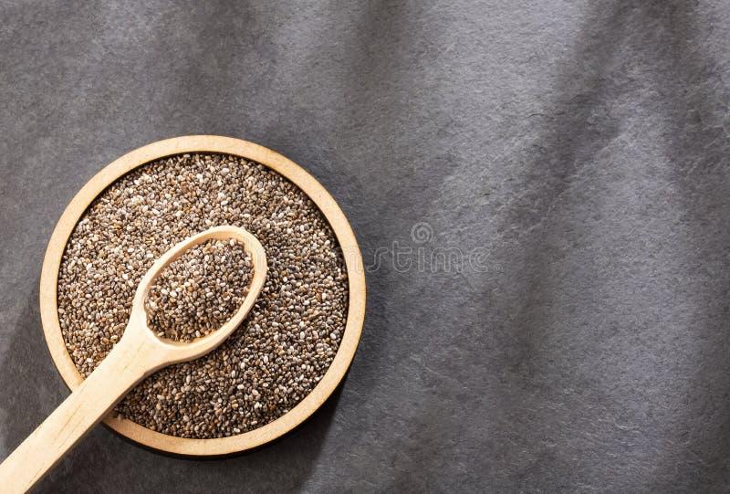 Organiskt chiafr? - Salvia hispanica Utrymme f?r text royaltyfria foton