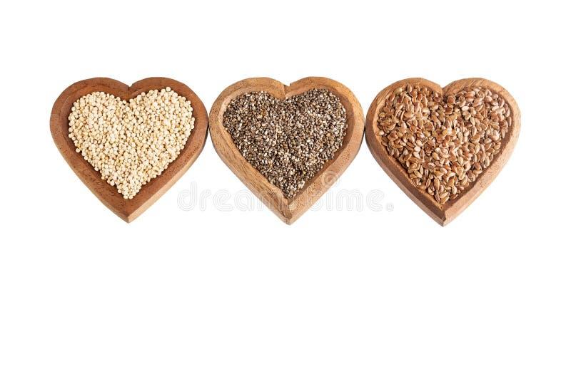 Organiskt frö av quinoaen, Flaxseed och Chia - Superfoods royaltyfri fotografi