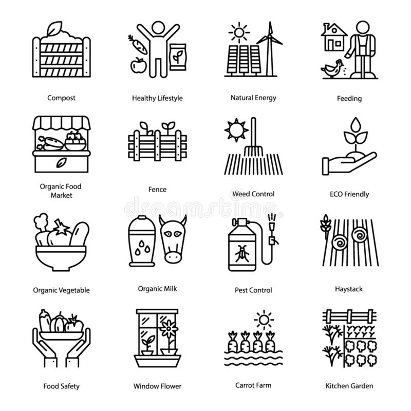 Organiskt linje symbolsuppsättning för bruka stock illustrationer