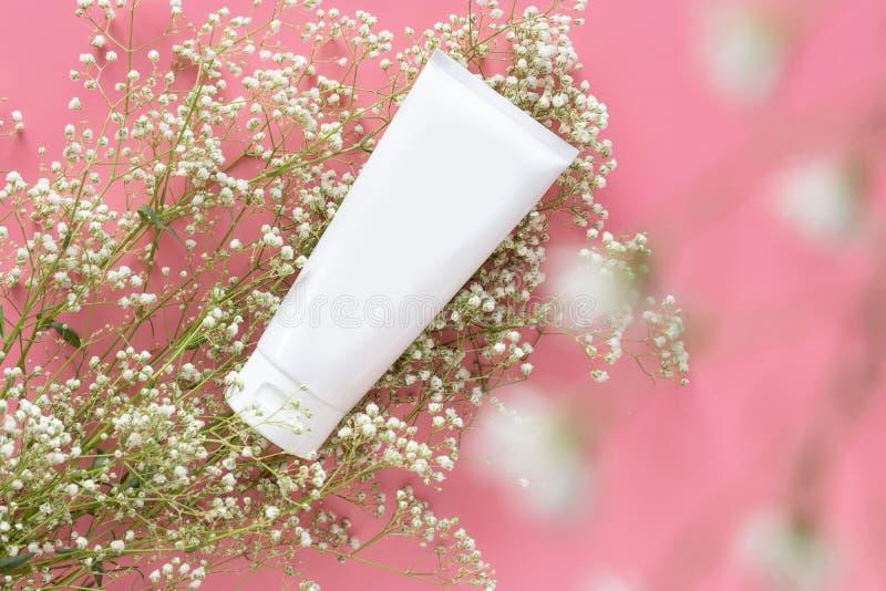 Organiskt skincarebegrepp för kosmetisk natur den vita kosmetiska rörbehållaren med den tomma etiketten för att brännmärka upp fö arkivfoton