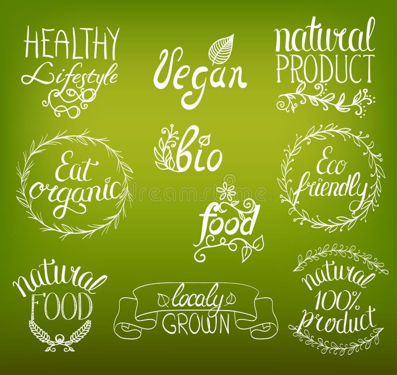 Organiskt strikt vegetarian, eco, skriftligt tecken för bio naturlig mathand stock illustrationer