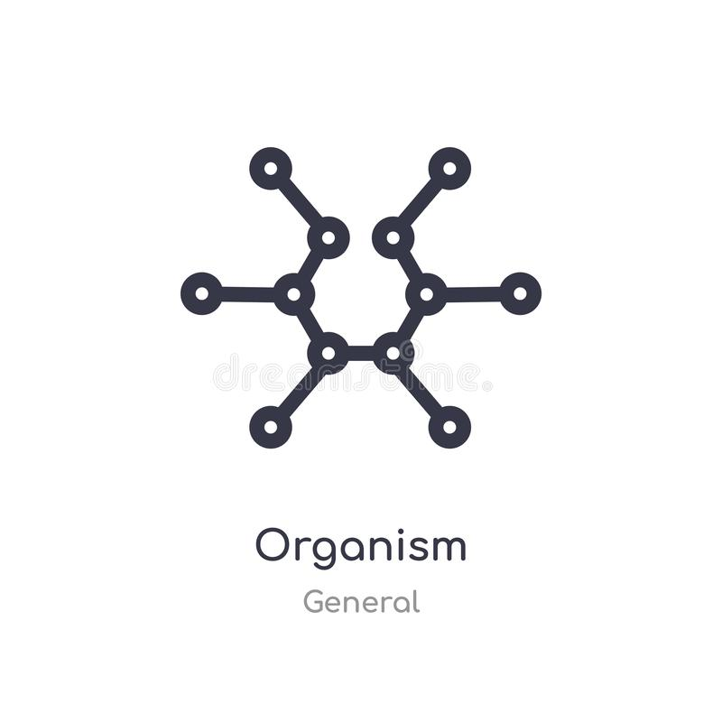 Organism outline icon. isolated line vector illustration from general collection. editable thin stroke organism icon on white. Background stock illustration