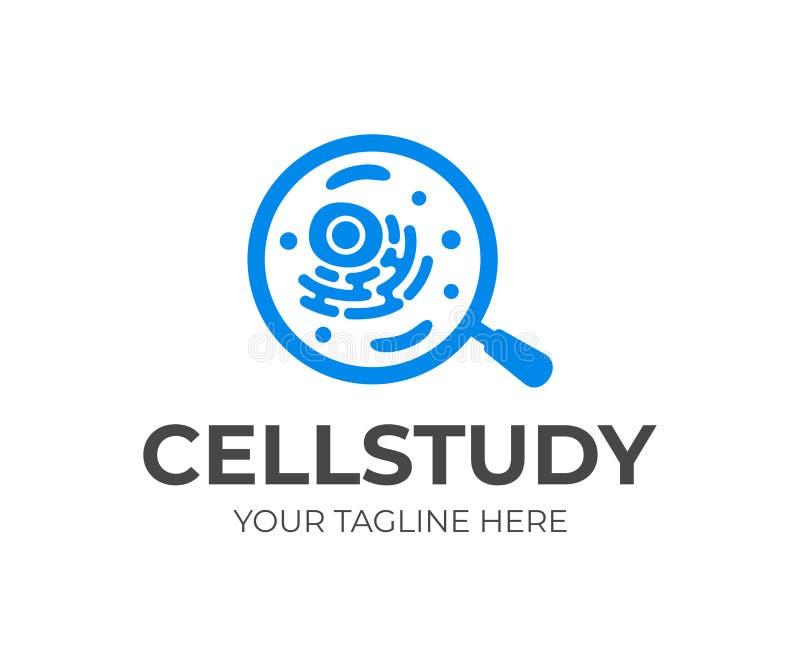 Organismecel en meer magnifier of vergrootglas, embleemontwerp Wetenschap, geneeskunde, gezondheidszorg en onderzoek, vectorontwe vector illustratie