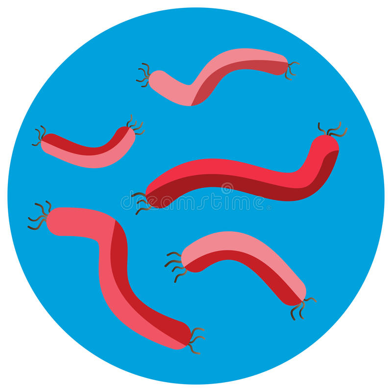 Organismo de la microbiología del icono de los microbios del virus de las bacterias y enfermedad humanos aislados microscópicos d stock de ilustración