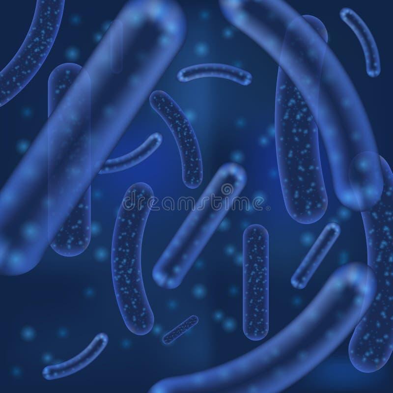 Organismos da bactéria ou do vírus do vetor micro Lactobacilo microscópico ou fundo acidófilo do sumário do organismo com ilustração do vetor