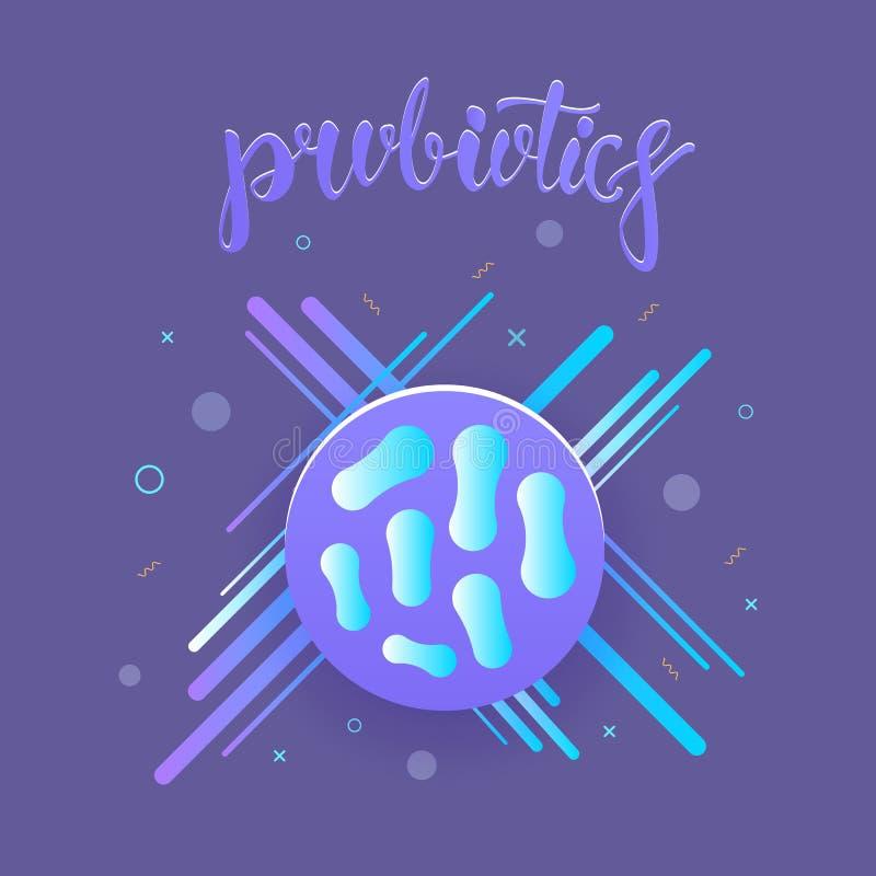 Organismos de las bacterias de Probiotics Nutrición sana Ilustración del vector stock de ilustración
