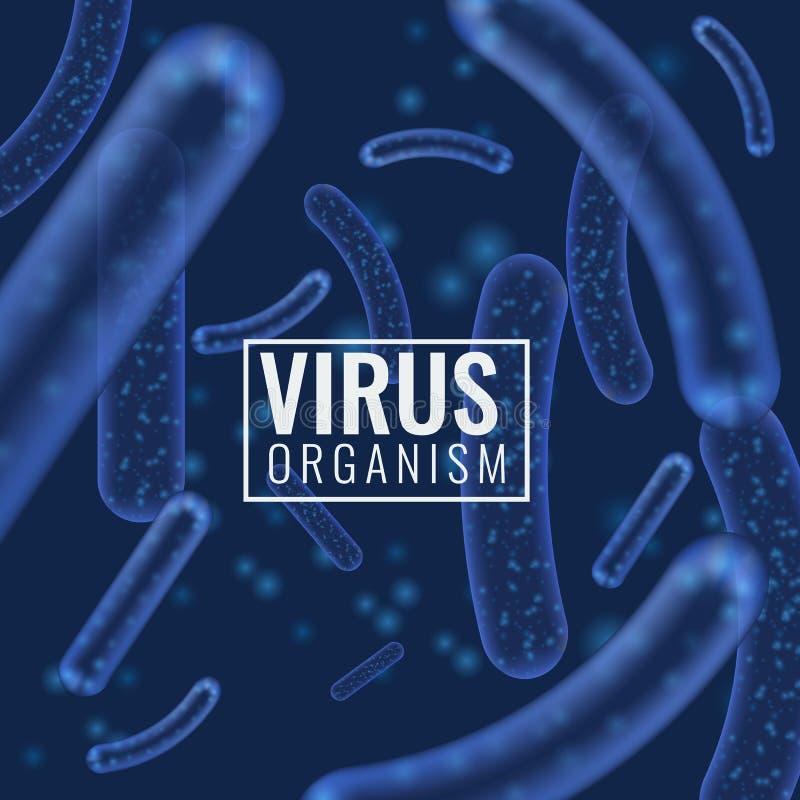 Organismos micro de la bacteria o del virus del vector Lactobacilo microscópico o fondo acidófilo del extracto del organismo con libre illustration