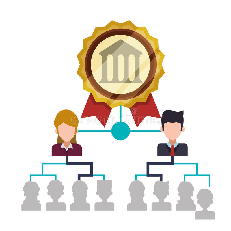 organização da gestão da estrutura de pessoal do banco ilustração do vetor