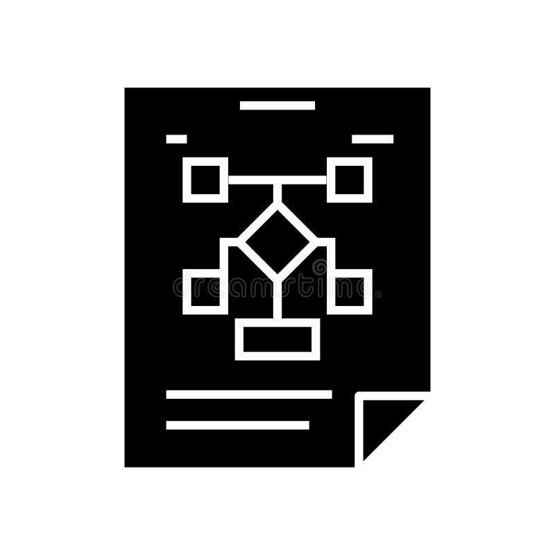 Organização de negócios - ícone do fluxograma, ilustração do vetor, sinal preto no fundo isolado ilustração stock