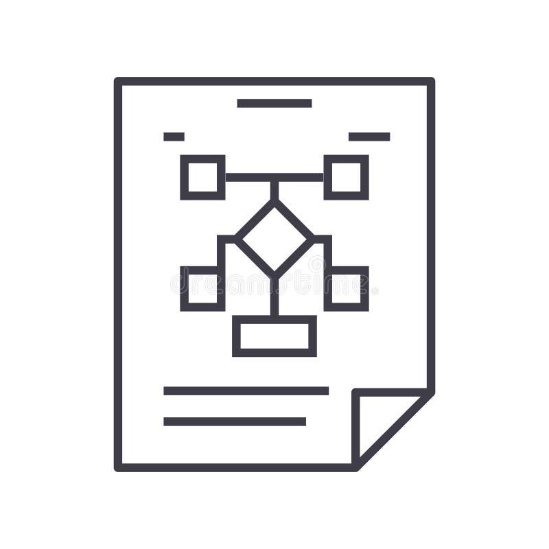 Organização de negócios, linha ícone do vetor do fluxograma, sinal, ilustração no fundo, cursos editáveis ilustração do vetor
