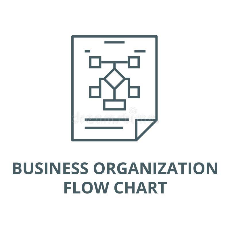 Organização de negócios, linha de fluxograma ícone, vetor Organização de negócios, sinal do esboço do fluxograma, símbolo do conc ilustração royalty free