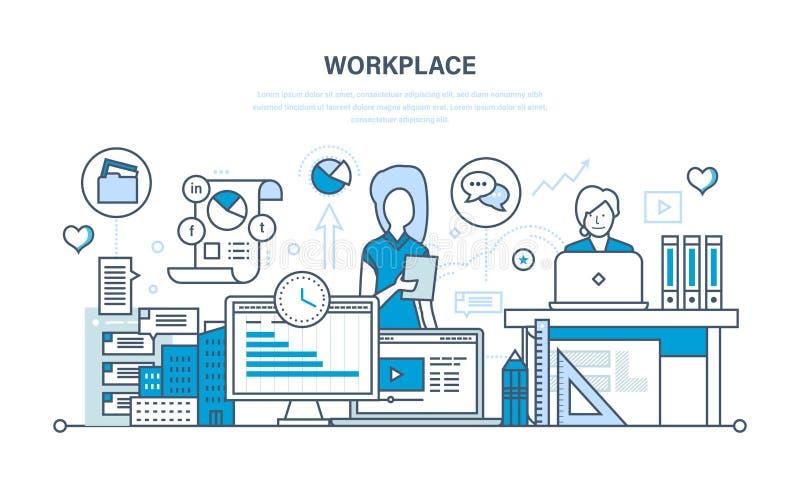 Organização do local de trabalho e trabalhos, ferramentas para o trabalho, programação da tarefa ilustração royalty free