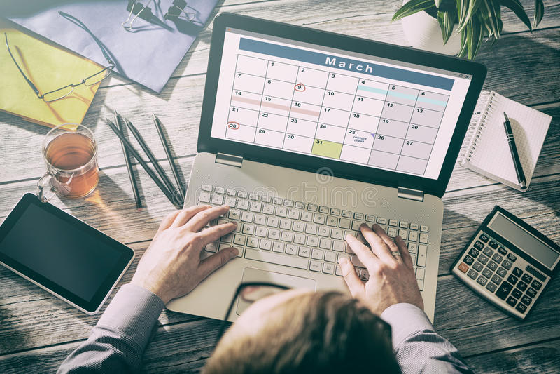 Organização do planejador do plano dos eventos do calendário imagens de stock