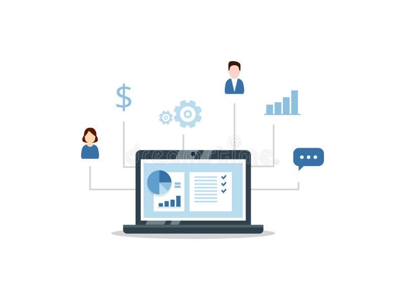 Organização dos dados no trabalho com clientes, conceito de CRM Ilustração do gerenciamento de relacionamento com o cliente ilustração do vetor