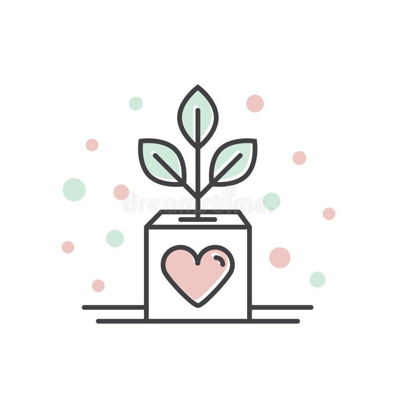 Organizações sem fins lucrativos e centro da doação Crescimento do negócio, símbolos Fundraising, etiqueta do projeto de Crowdfun ilustração royalty free