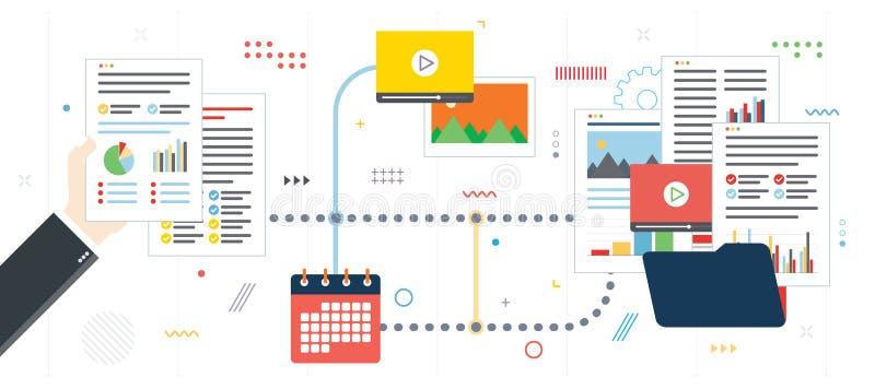 Organización, archivo de datos, vídeo y foto del papeleo del negocio ilustración del vector