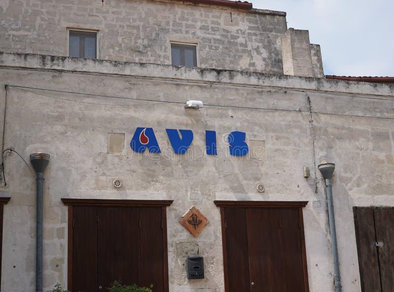 Organización caritativa italiana Avis imagen de archivo