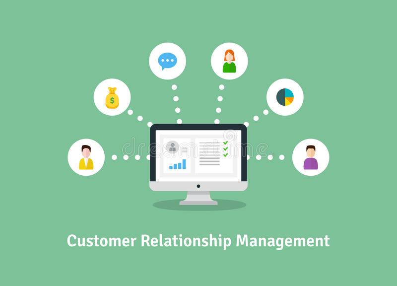 Organización de datos sobre el trabajo con los clientes, concepto de CRM Ejemplo de la gestión de la relación del cliente ilustración del vector