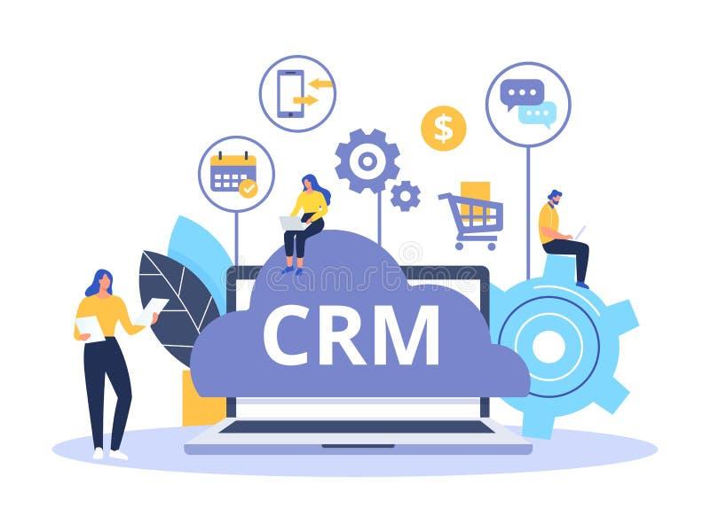 Organización de datos sobre el trabajo con los clientes, gestión de la relación del cliente Diseño de concepto de CRM con los ele libre illustration