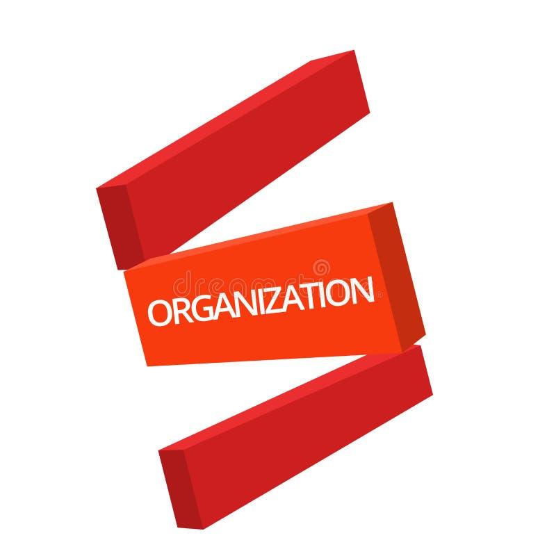 Organización de la escritura del texto de la escritura El significado del concepto organizó el grupo de mostrar con un negocio pa ilustración del vector