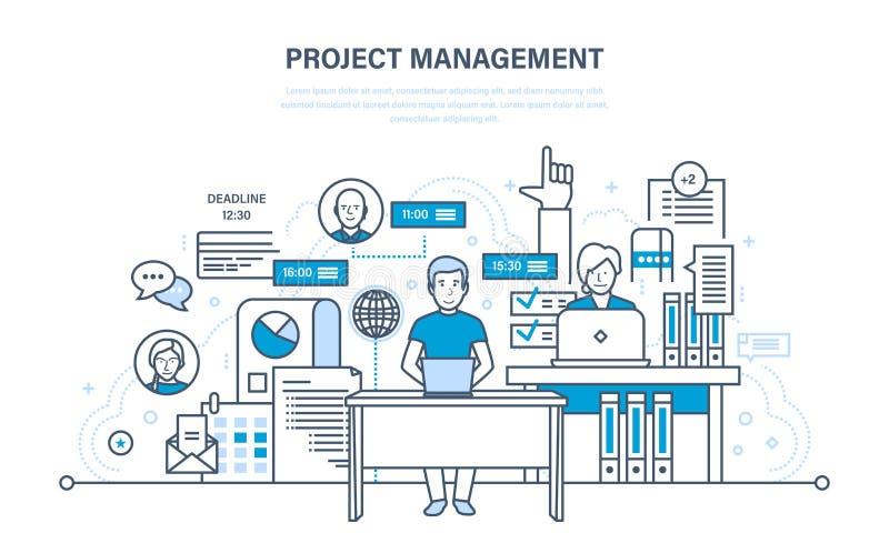 Organización de proceso de trabajo, tiempo, planificación de empresas, estadísticas, análisis, trabajo en equipo stock de ilustración