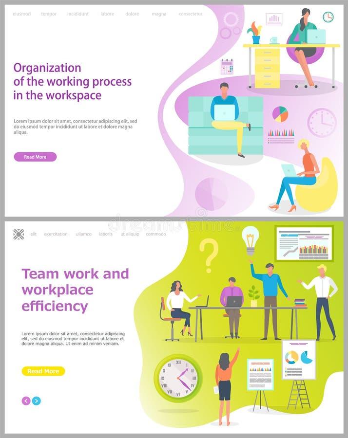Organización de proceso de trabajo en sistema del lugar de trabajo ilustración del vector