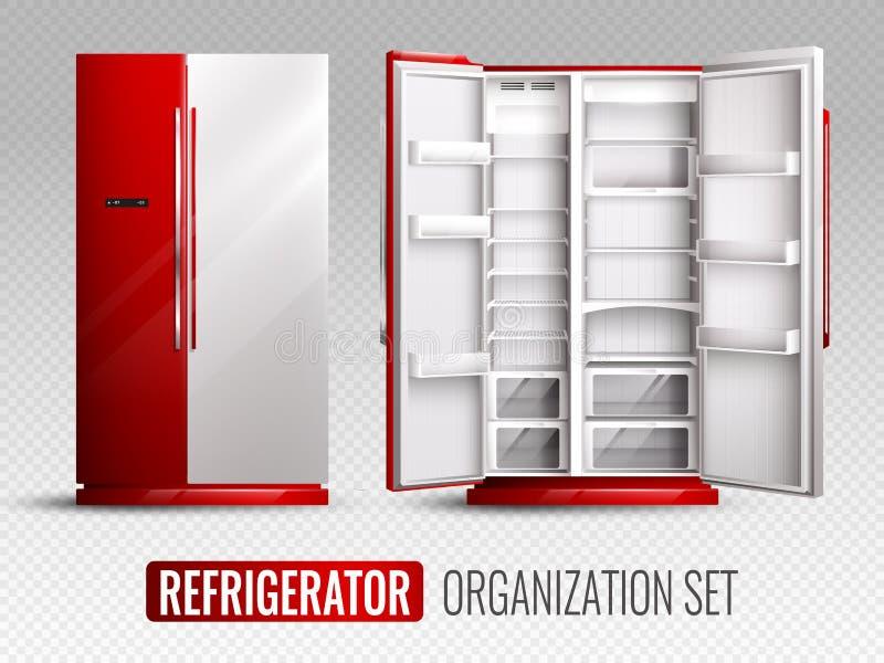 Organización del refrigerador en fondo transparente stock de ilustración