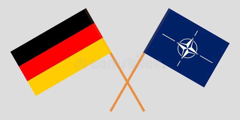 Organizaci?n del Tratado del Atl?ntico Norte y Alemania La OTAN y las banderas alemanas Colores oficiales Proporci?n correcta Vec stock de ilustración
