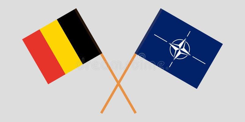 Organización del Tratado del Atlántico Norte y Bélgica La OTAN y las banderas belgas Colores oficiales Proporci?n correcta Vector stock de ilustración