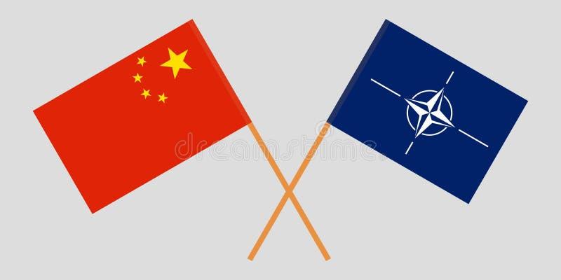 Organización del Tratado del Atlántico Norte y China La OTAN y las banderas chinas Colores oficiales Proporci?n correcta Vector libre illustration