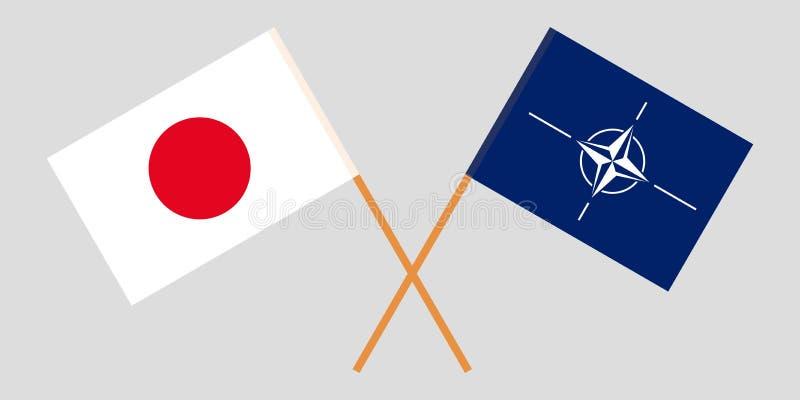 Organización del Tratado del Atlántico Norte y Japón La OTAN y las banderas japonesas Colores oficiales Proporci?n correcta Vecto stock de ilustración