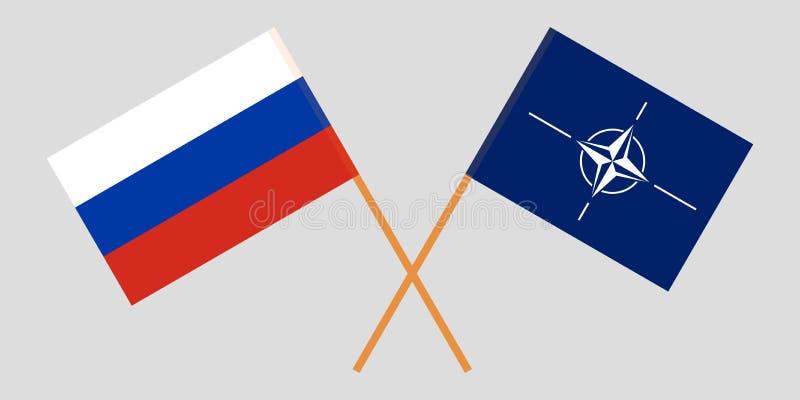 Organización del Tratado del Atlántico Norte y Rusia La OTAN y las banderas rusas Colores oficiales Proporci?n correcta Vector ilustración del vector