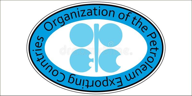 Organización la OPEP del aceite de la etiqueta engomada stock de ilustración
