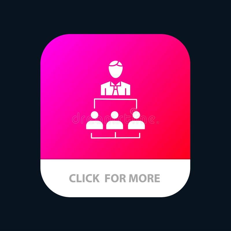 Organización, negocio, ser humano, dirección, botón móvil del App de la gestión Android y versión del Glyph del IOS ilustración del vector