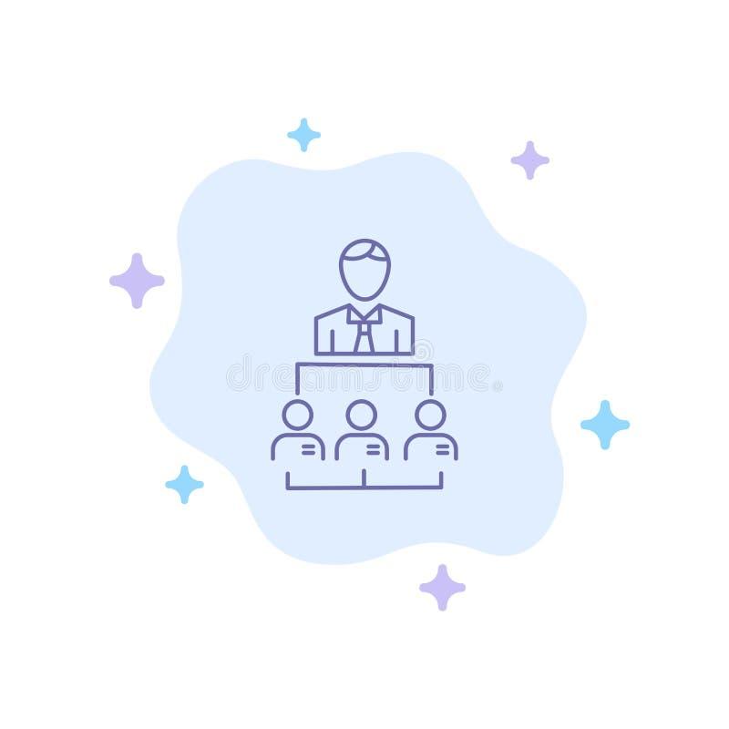 Organización, negocio, ser humano, dirección, icono azul de la gestión en fondo abstracto de la nube stock de ilustración