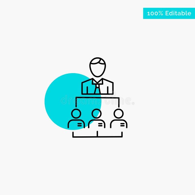 Organización, negocio, ser humano, dirección, icono del vector del punto del círculo del punto culminante de la turquesa de la ge libre illustration