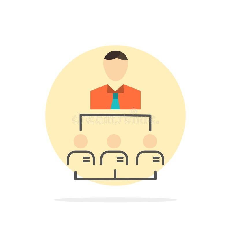 Organización, negocio, ser humano, dirección, icono plano del color de fondo del círculo del extracto de la gestión ilustración del vector
