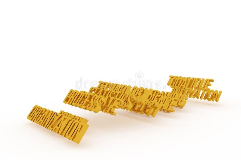 Organización, palabras de oro conceptuales 3D del negocio Estilo, positivo, fondo y papel pintado stock de ilustración