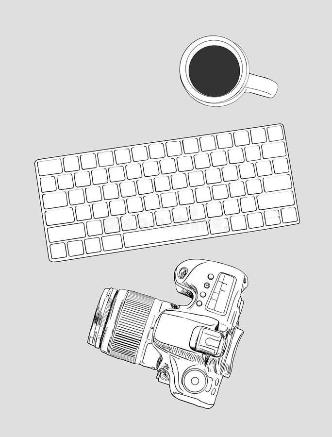 Organización realista del lugar de trabajo Visión superior con keyboaed, ratón ilustración del vector