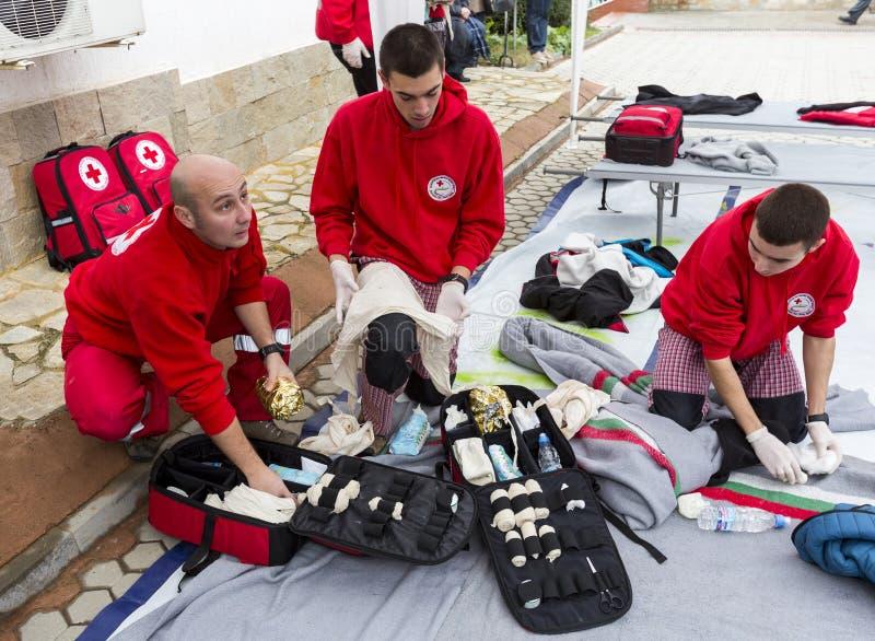 Organización voluntaria Roja búlgara de la juventud de la Cruz (BRCY) foto de archivo libre de regalías