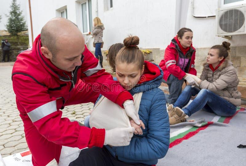 Organización voluntaria Roja búlgara de la juventud de la Cruz (BRCY) imagenes de archivo