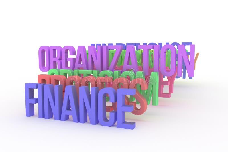 Organización y finanzas, palabras coloridas conceptuales 3D del negocio Ejemplo, alfabeto, web y diseño ilustración del vector