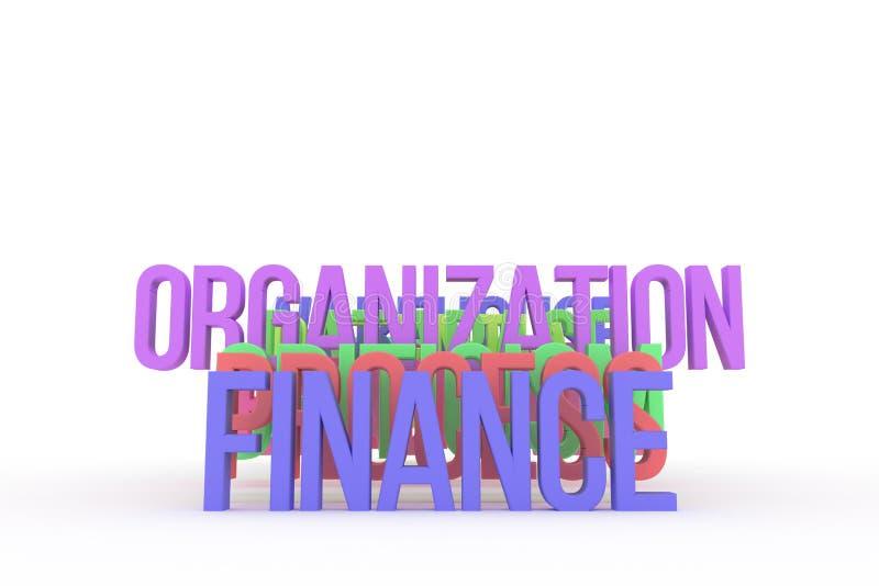Organización y finanzas, palabras coloridas conceptuales 3D del negocio Papel pintado, creatividad, alfabeto y positivo ilustración del vector