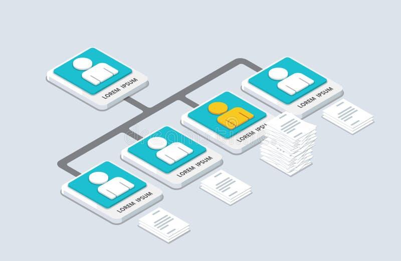Organización y sturcture isométricos estallido-u plano de la organización 3d stock de ilustración