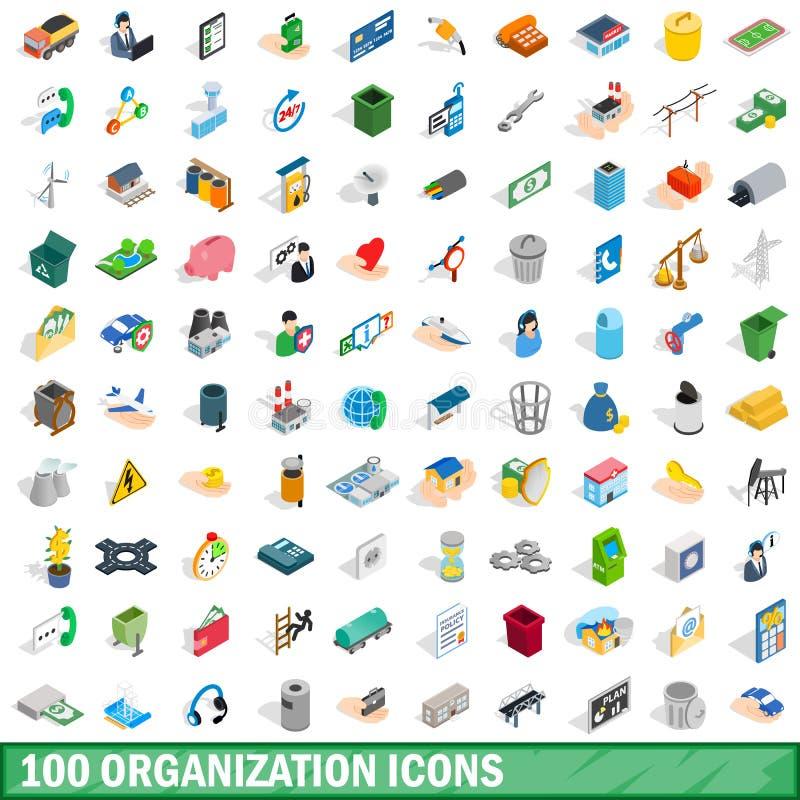 100 organizacj ikon ustawiających, isometric 3d styl ilustracji