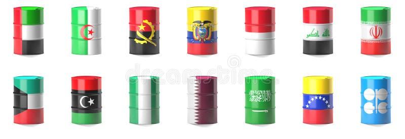 Organizacja Eksportujący Paliwo kraj flaga ilustracji