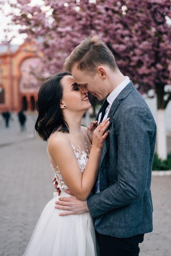 Organizacja wakacje, ślubna agencja Para w miłość buziakach na ulicach obrazy royalty free
