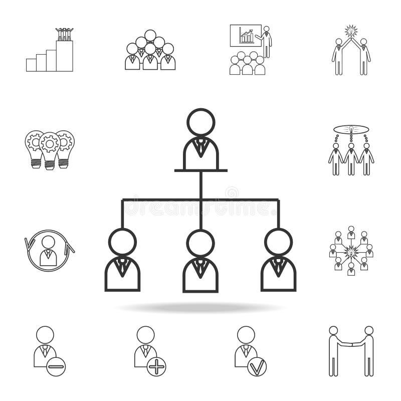 organizacyjnej mapy linii ikona Szczegółowy set drużynowe praca konturu ikony Premii ilości graficznego projekta ikona Jeden coll royalty ilustracja