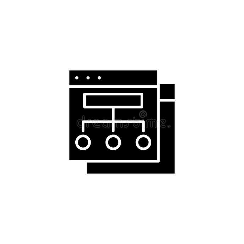Organizacyjny marketingowej struktury czerni ikony pojęcie Organizacyjny marketingowej struktury płaski wektorowy symbol, sig ilustracja wektor