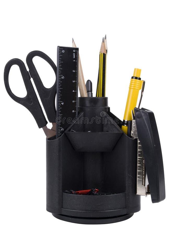 Organizador da mesa com ferramentas do escritório foto de stock royalty free
